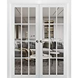 Sliding French Double Pocket Doors 72 x 80 inches Clear Glass 12 Lites| Felicia 3355 Matte White | Kit Trims Rail Hardware | Solid Wood Interior Bedroom Sturdy Doors