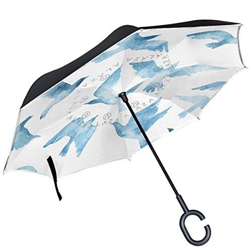 Alaza Watercolor Taube Silhouette seitenverkehrt Regenschirm Double Layer winddicht Rückseite Regenschirm