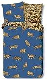 GOOD MORNING Buenas Noticias. Renforcé 6697.20.12 - Juego de Cama (2 Piezas, Funda nórdica de 155 x 220 cm, Funda de Almohada de 80 x 80 cm), diseño de Leopardo, Color Azul