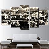 Modulaire Impression HD Ouvrages d'art Moderne Voiture de Sport Affiche Accueil Décor Art Mural 5 Pièces des Photos Ford Mustang 1965 Toile de Peinture,A,40x60x2+40x100x1+40x80x2