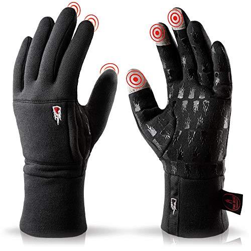THE HEAT COMPANY – Merino Liner PRO – Warme Merino Handschuhe – Qualität aus den Alpen – Touchscreen Winterhandschuhe aus Wolle: Damen & Herren – Laufhandschuh, Fahrradhandschuh, schwarz, Gr. 10-11