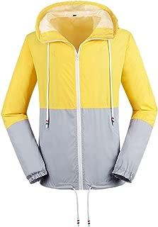 Daxvens Womens Waterproof Windbreaker Lightweight Wind Rain Resistant Jacket Outdoor Raincoat Hooded Rainwear