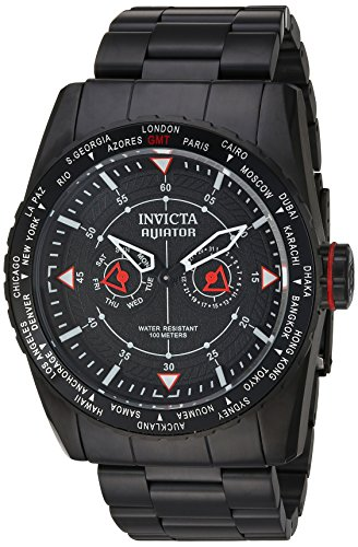 Invicta Men's Aviator Quartz Watch with Stainless-Steel Strap, Black, 28 (Model: 22985)