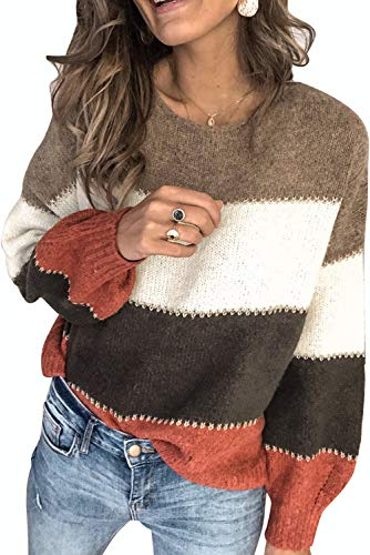 Necooer Womens Knit Sweater Casual Loose Oversized Long Sleeve Chunky Knit Pullover Tops (Small, Brown)