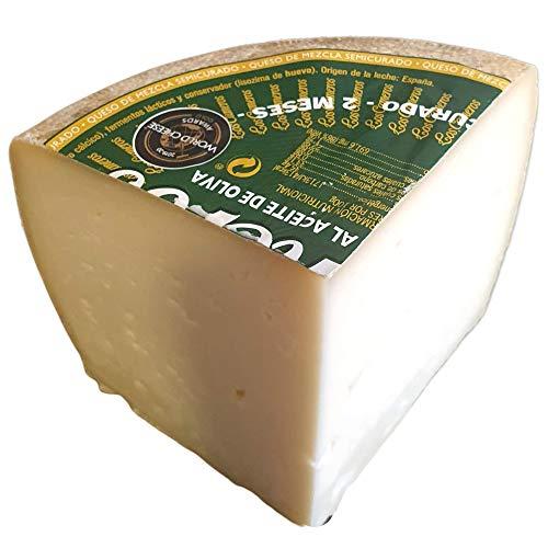 Queso Semicurado - Queso Mezcla Los Cameros Etiqueta Verde - Cuarto de Queso Peso Aproximado 850 gramos - Queso elaborado con una mezcla de leche de vaca, de oveja y de cabra