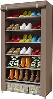 IBEQUEM Étagère à chaussures avec 7 niveaux de rangement en tissu non tissé, résistante à la poussière, rangement à chauss...