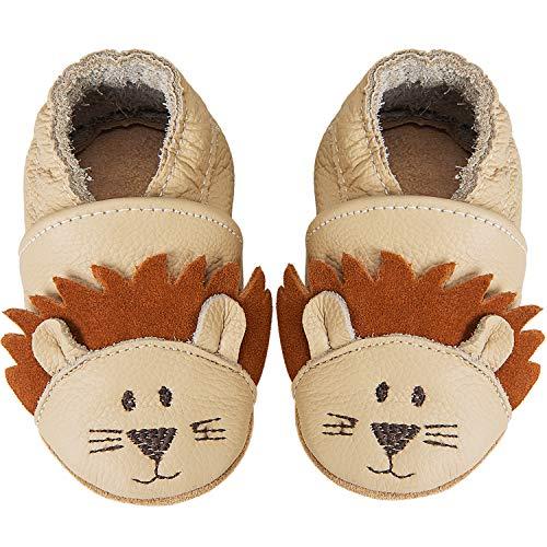IceUnicorn Weiche Leder Babyschuhe Lauflernschuhe Krabbelschuhe Babyhausschuhe mit Wildledersohlen für Junge Mädchen Kleinkind(Löwe,12-18)