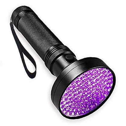 WOWTOY UV Torch Light, 100 LED UV Black Light Flashlight Pet Dog Cat Urine Stains Scorpion Bed Bug Detector Light, Super Bright Blacklight Detector for Pet Stains, Carpet, Floor 1