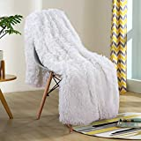 YOH Decorative Extra Soft Faux Fur Throw Blanket, Solid Reversible Fuzzy Long Hair Shaggy Blanket, Fluffy Cozy Plush Fleece Comfy Microfiber Furry Throws for Couch Sofa Bed, (60x50 Inches) Pure White