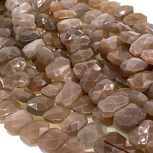 [ABCgems] Rare Madagascan Chocolate Moon Stone AKA Pink/Peach Moon Stone (Exquisite Flash) 10X14mm Faceted Fancy-Cut Hexagon Beads for Beading & Jewelry Making