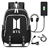 Kpop BTS Middle School College Bag Laptop Backpack for Women Men with USB
