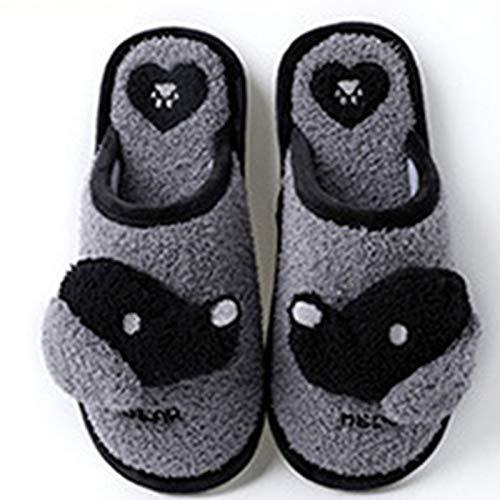 VOMI Hombres Mujeres Animal Perrito Zapatillas Lindo Dibujos Animados Suave Cálido Antideslizante Algodón Zapatos Pareja Otoño Invierno Felpa Pantuflas,Gris,EU 42/43