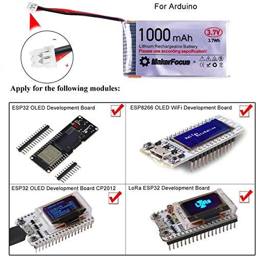 MakerHawk 3,7 V Lithium Akku 3,7 V 1000 mAh Lipo batterien mit Micro JST 1,25-Stecker für Arduino Nodemcu ESP32-Entwicklungsplatine (4 Pack) - 5