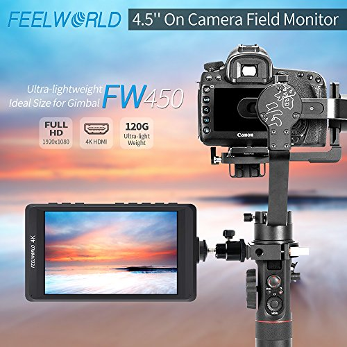 FEELWORLD FW450 4.5 Inch DSLR On Camera Field Monitor 4K HDMI Input Output Small HD Focus 1280x800 Ultra Lightweight Video Assist