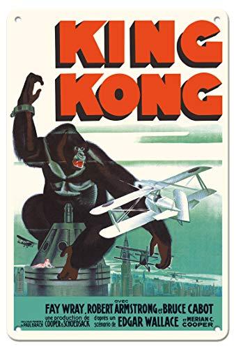 Pacifica Island Art - 22 x 30 cm Cartel de hojalata - King Kong - con Fay Wray y Robert Armstrong - Póster de película c.1933