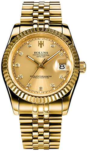 Men Gold Stainless Steel Watch Men Automatic Mechanical Self-Wind Watch Designer Dress Men Wristwatches (A- Full Gold)