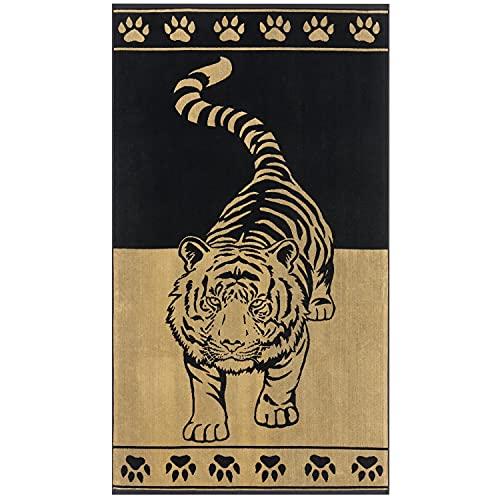 Delindo Lifestyle Tropical Toalla de playa, XXL, 100% algodón, 100 x 180 cm, diseño de tigre, color dorado