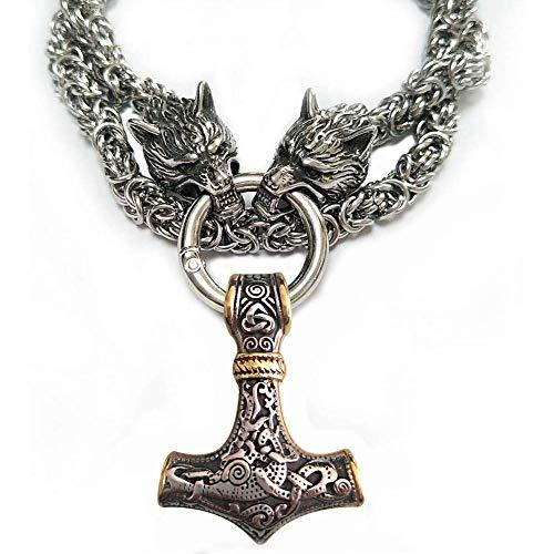 FLYTYSD Thor Hammer Gold/Silver con Colgante De Cabeza De Lobo Vikingo, Acero Inoxidable 316L De...