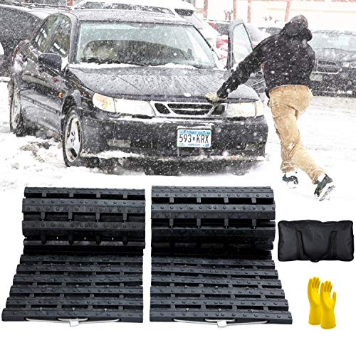 JOJOMARK Tire Traction Mat, Recovery Track Portable Emergency Devices for Snow, Ice, Mud, and Sand Used to Cars, Trucks, Van or Fleet Vehicle (2pcs39in)