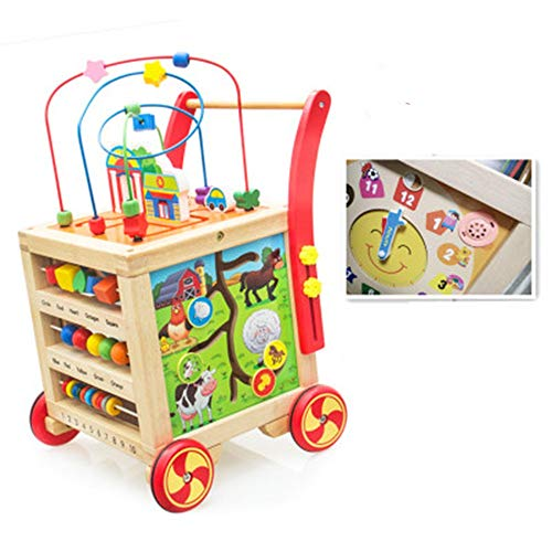 Great Deal! Baby First Steps Activity Walker 5-in-1 Activity Center Baby Push Walker Wooden Learning...