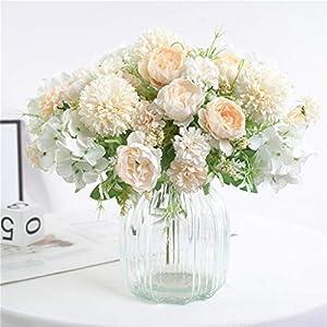 Artificial Flowers, Fake Peony Silk Hydrangea Bouquet Decor Plastic Carnations Realistic Flower, Beautiful Artificial Silk Fake Flowers Wedding Valentines Bouquet Bridal Decor (C, Champagne)