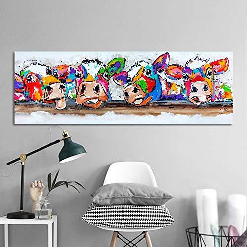 mmzki Glückliche Malerei Wandkunst Leinwand Glückliche Kühe Malerei Tier Bild Drucke Wohnkultur50X150CM