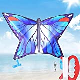 YF-SURINA Cometa al aire libre, cometas para niños Cometas para niños fáciles de volar con deportes al aire libre Cometas graduadas de mariposa azul fáciles de llevar,Azul