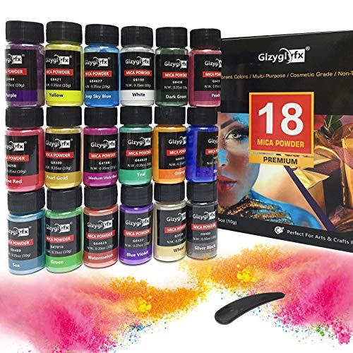 Colores para resina epoxi, colorante vela 18 colores pigmentos en polvo de mica metálica natural para colorantes jabones, kit Slime, pigmentos en polvo de mica y polvo brillante en colores