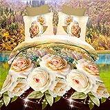 HOHAI 4 pezzi Golden Rose 3D Set di biancheria da letto con stampa di fiori Set copripiumino matrimoniale