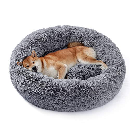 UMI by Amazon dog bed plush soft warm donut pet bed for dog fluffy sleeping bed multi-sized pet sofa for small medium dogs machine washable darkgrey L