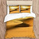 Juego de 3 fundas de edredón de microfibra suave, color dorado desierto al atardecer, Islas Canarias, Canarias, incluye 1 funda de edredón + 2 fundas de almohada, 78 x 78 pulgadas