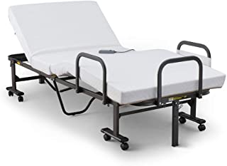 アイリスオーヤマ ベッド 電動リクライニングベッド 折りたたみ ボタン操作かんたん 点で支える プロファイルウレタン 日本製 ホワイト OTB-BDH 幅約97.5×奥行約203×高さ約61㎝