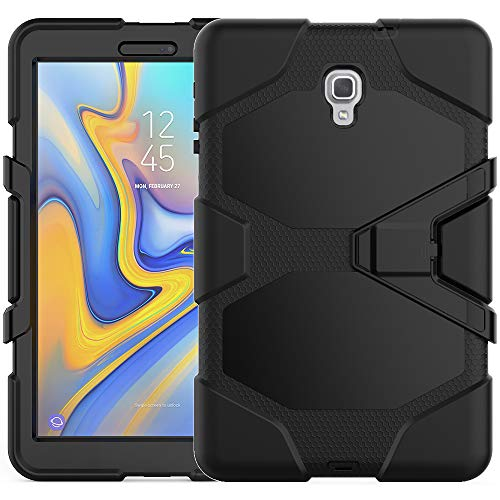 LKXING Armor Case for Samsung Galaxy Tab A 10.5 2018, Heavy Duty Rugged Full-Body Hybrid Shockproof Drop Protection Cover With Kickstand for Galaxy Tab A 10.5 inch Tablet SM-T590/SM-T595 (Black)