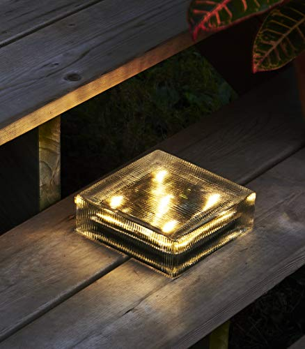 Solar Brick Outdoor Light - 6x6 Large Glass Square Paver, Striped Texture, 5 Warm White LED Lights, Waterproof, Landscape Lighting, No Wires, Easy to Install - Rechargeable Battery Included