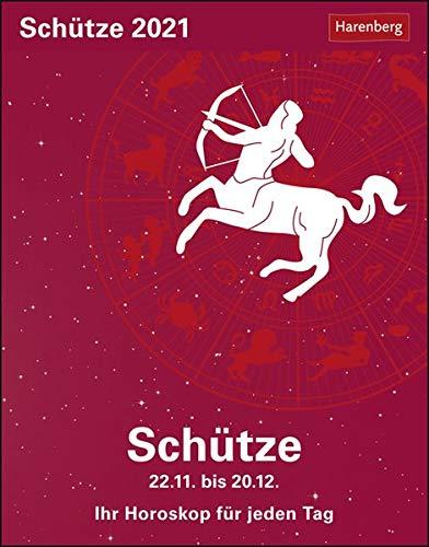 Schütze Sternzeichenkalender 2021 - Tagesabreißkalender mit ausführlichem Tageshoroskop und Zitaten - Tischkalender zum Aufstellen oder Aufhängen - Format 11 x 14 cm