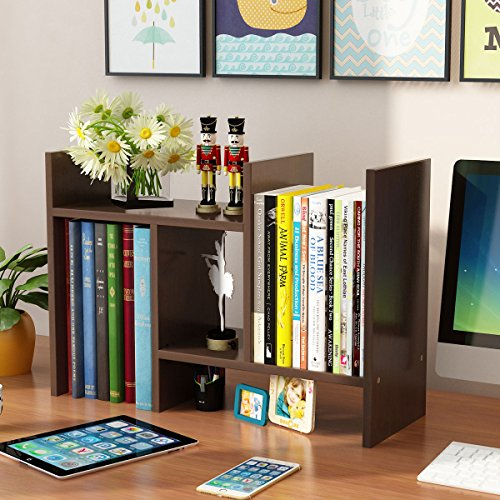 "Yontree Expandable Wood Desktop Storage Organizer Multipurpose Desk Bookshelf Display Shelf Rack Counter Top Bookcase for Office Home 27.6""x7.8""x15.7"" Walnut Brown"