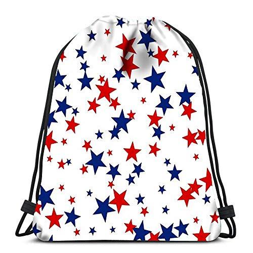 Lsjuee Rucksack Kordelzug Patriotischer Amerikaner mit roten und blauen Sternen Frauen Männer Sport Gym Sack