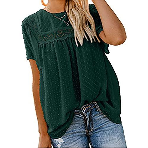 Mayntop Camiseta sin mangas de manga corta para mujer, B-verde, 42