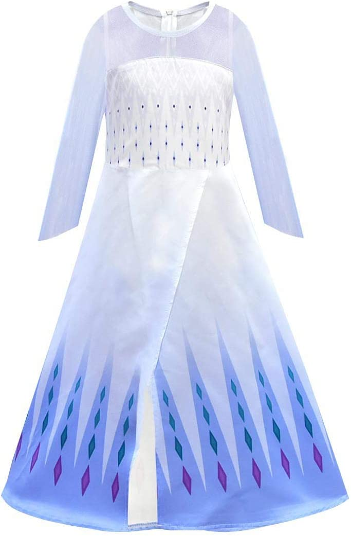 CosplayDiy Girl's Princess Inspired Snow Queen Party Cosplay Costume White Dress Age 2+