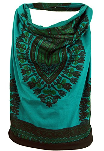 Guru-Shop Goa Top, Dashiki Psytrance Neckholder Top, Damen, Petrol, Baumwolle, Size:S/M (34/36), Tops & T-Shirts Alternative Bekleidung