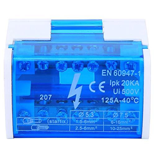 Morsettiera Scatola di distribuzione Su Guida Din, Connettore Universale Compatto per Cablaggio con Coperchio Antipolvere Trasparente 207 per Quadri Elettrici