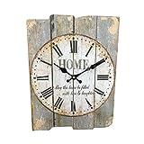 Vosarea Cuadrado Reloj de Pared de Madera rústico Noche Luz Colgante Reloj para Tienda en casa Hotel Nogal Color Sin batería