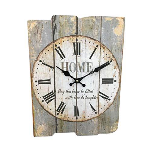 IMIKEYA - Reloj de pared cuadrado rústico de madera, diseño de números romanos, estilo shabby chic y bricolaje, decoración para la cocina, salón y dormitorio