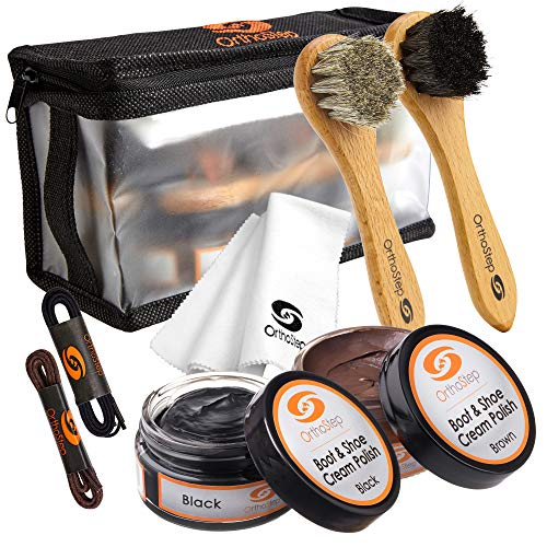 8pc Black and Brown Shoe / Boot Cleaning Kit – Polish, Brushes, Cloth, Case