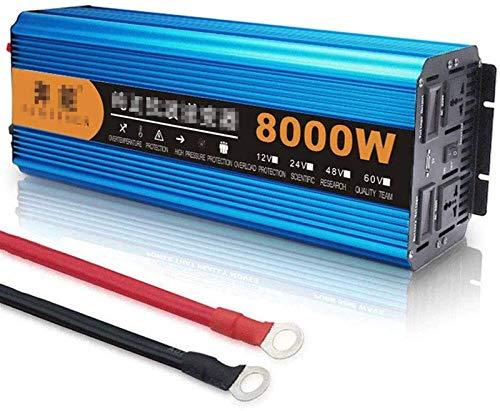 Inversor de onda sinusoidal pura 3000W / 4500W / 6000W / 8000W / 12000W - Convertidor de voltaje con LCD DC 12V 24V Un convertidor AC 220V - convertidor de inversor con 2 enchufes y puerto USB, para c