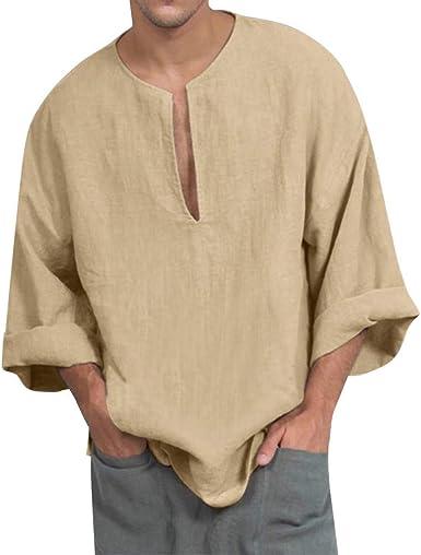 Hombre Camisas Lino Manga Larga Otoño Camiseta Abierta Cuello V Color Sólido Camisas Informales Anchas Suave Transpirable Blusa Casual Top