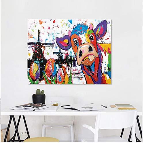 chthsx Vrolijk Schilderij Wandkunst Holland Koe Canvas Schilderij Animal Afbeeldingen Wooncultuur -50x60m Geen lijst