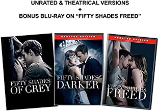 Fifty Shades 3-Movie Trilogy DVD Collection: Fifty Shades of Grey / Fifty Shades Darker (Unrated) / Fifty Shades Freed (Unrated) + Bonus Blu-ray Edition of Fifty Shades Freed [50 Shades Complete DVD C