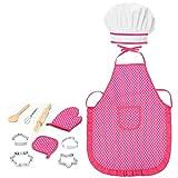 11Pcs Regalo para niños Suministros de Cocina Herramientas para Hornear Pink Niños Souptoys Pink