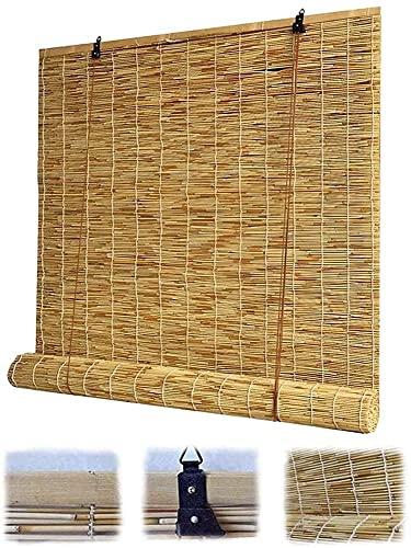 Persianas de caña natural, persianas romanas, cortinas, persianas retro de rodillos de bambú con elevadores, sombreado / aislamiento impermeable / calor, adecuado para interiores, al aire libre, jardí